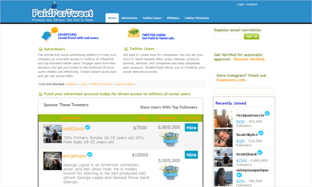 use paidpertweet to monetize twitter