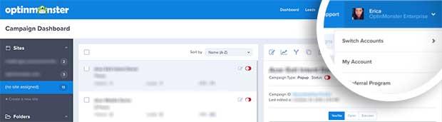 OptinMonster Dashboard My Account menu link