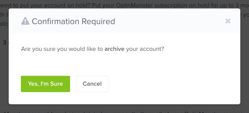 Confirm Archive Subscription