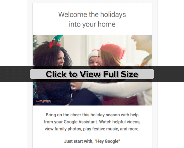 google home holiday email marketing