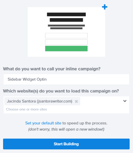 enter your campaign name and click start building