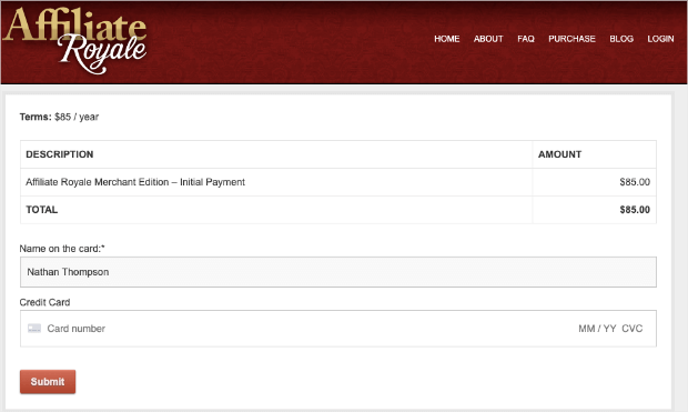 affiliate royale payment page