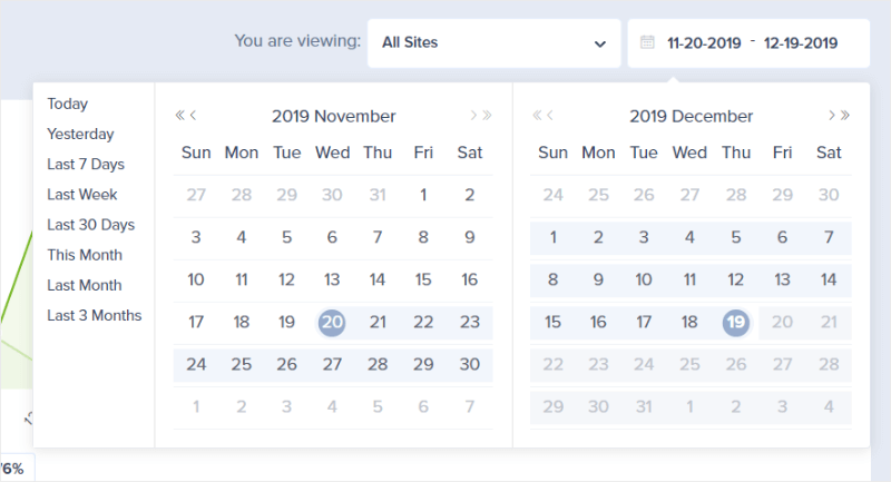 account dashboard date selector