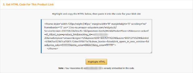 amazon affiliate program html for link