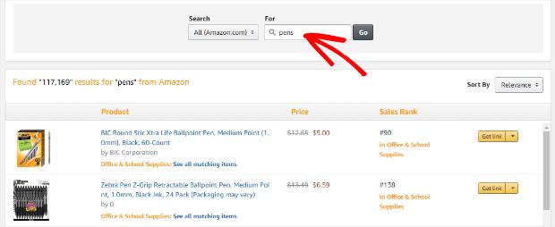 amazon affiliate program product search pens