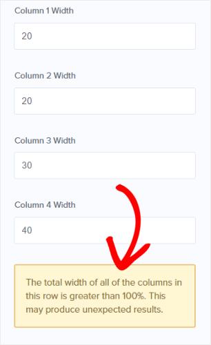 column width greater than 100% alert