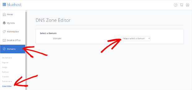bluehost zone editor