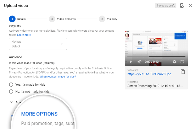 youtube more options