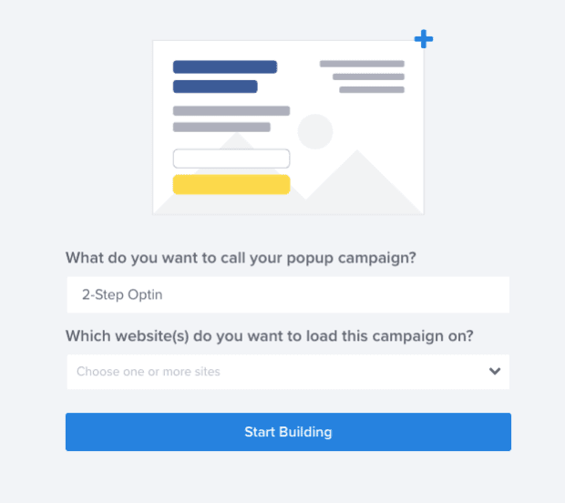 Name and Designate Your Campaign for your 2-step optin