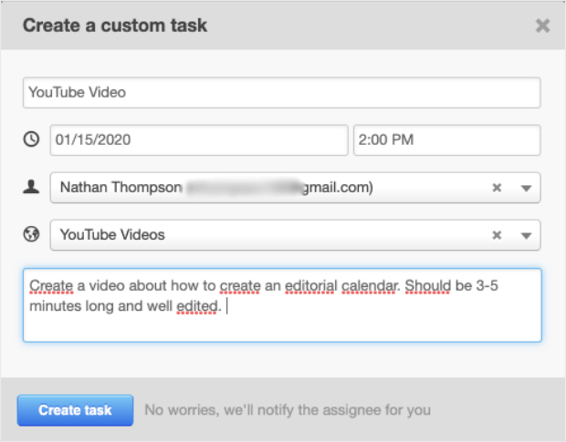 create task custom fill out all the fields with details