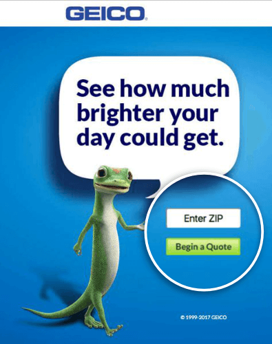 geico landing page example