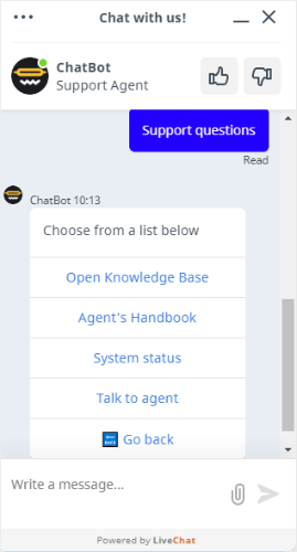 live chat automated responses