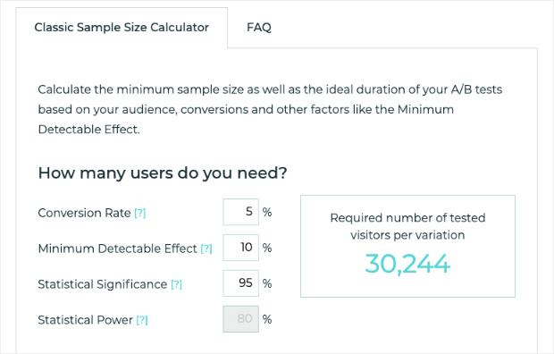 A_B Calcolatore di dimensioni del campione gustoso