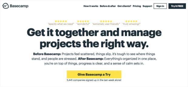 Basecamp web design trends back and white