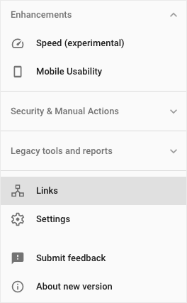 Click Links in the lefthand side menu of Google search console