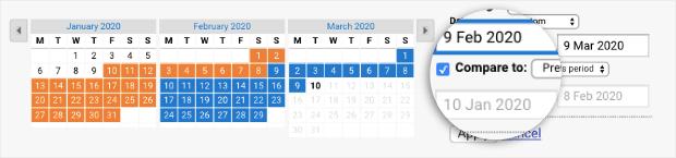 Confronta con il periodo di tempo in Google Analytics