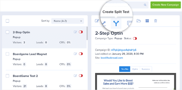 Create Split test from your optinmonster dashboard