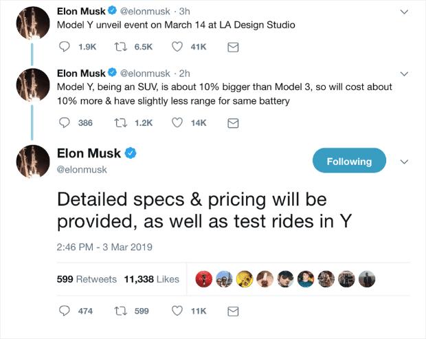 Elon Musk Twitter Teaser per il lancio di SUV Tesla