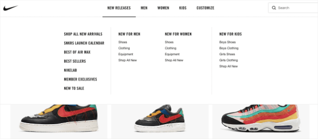 Nike Homepage in black and white for navigation