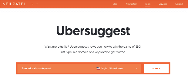 Ubersuggest homepage