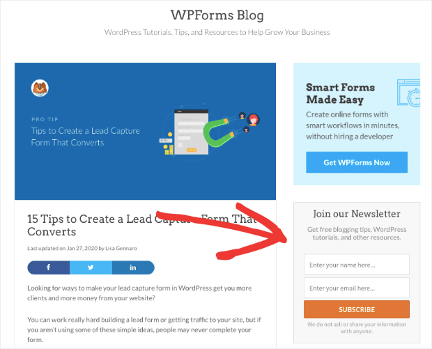 WPForm Sidebar Form on blog homepage