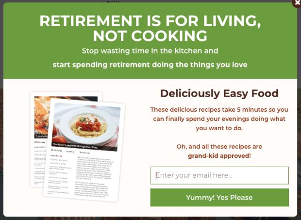 Hinzufügen für Rentner in ihren 1950er Jahren zu einem Affiliate-E-Mail-Marketing-Lead-Generator