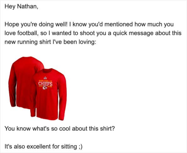 esempio email di affiliazione maglia da calcio