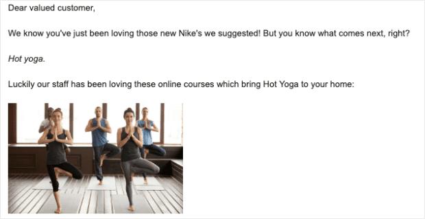 e-mail yoga hot off esempio argomento