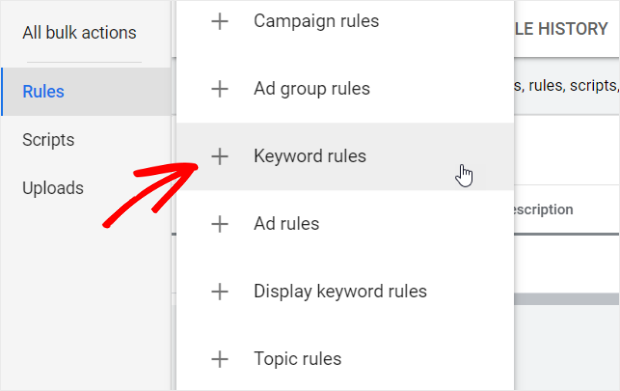 choose keyword rules