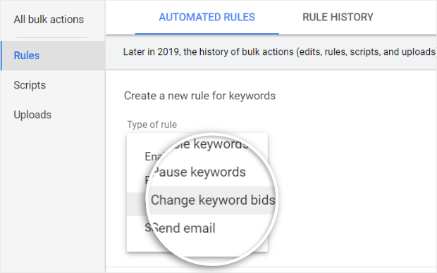 select change keyword bids