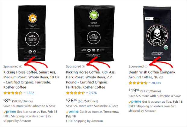 example of sponsored product ads on amazon