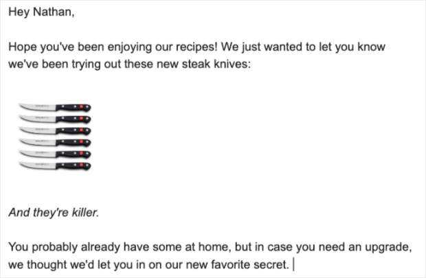 esempio di email di affiliazione per coltelli da bistecca
