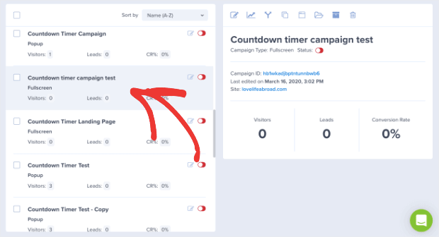 Choose your campaign from OptinMonster Dashboard