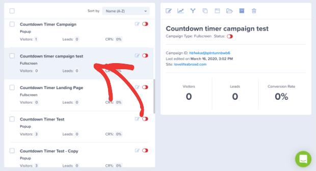 Scegli la tua campagna da OptinMonster Dashboard