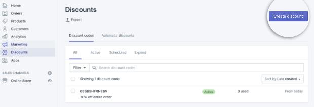 Click Create discount