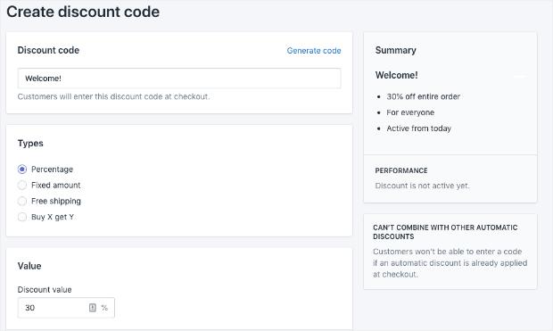 Condizioni per il tuo codice sconto