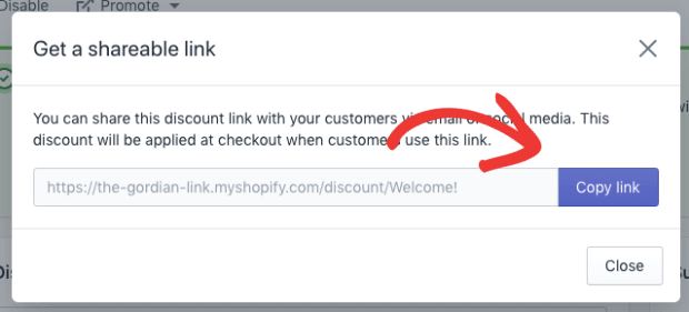 Copy Link for Coupon Popup