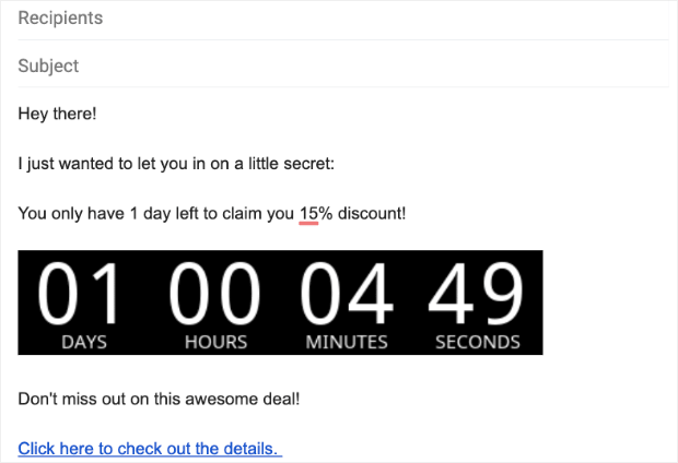 Esempio di timer per il conto alla rovescia via email in Gmail