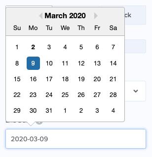 Seleziona la data per il tuo conto alla rovescia