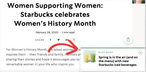 Pop-up laterale di Starbucks