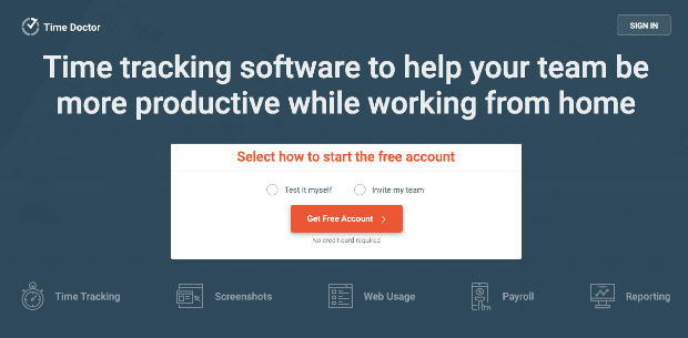 Time Doctor Homepage to help work from home
