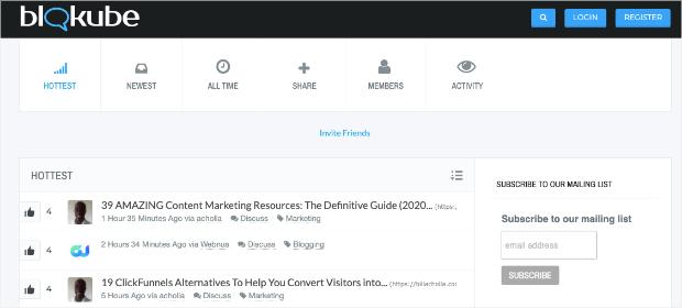 Blokube homepage