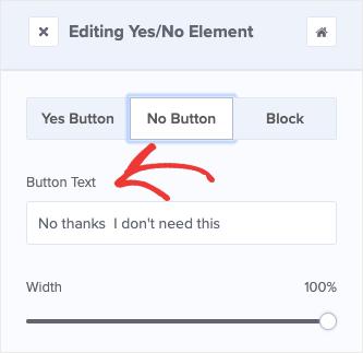 Cambia testo pulsante opzione no
