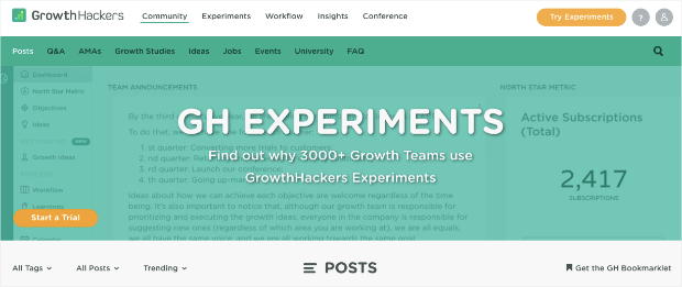 Growth Hackers homepage