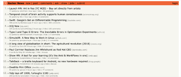 Hacker News Homepage