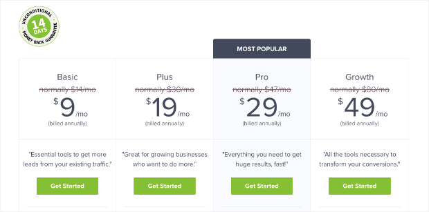 OptinMonster Pricing Page for blog