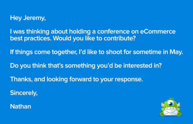Bad template for outreach email when you host a virtual conference