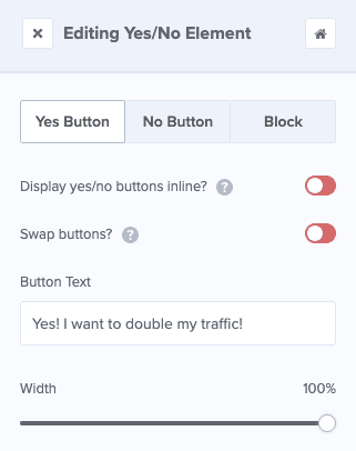 Yes Button Editing Tools in the sidebar