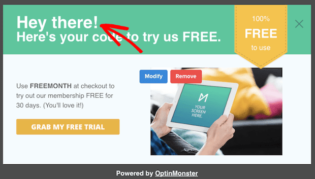 personalized campaign showing default text