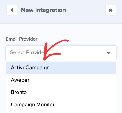 Choose ActiveCampaign as the Email Provider